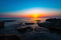 Sunrise on sea. Colorful sunrise on sea Stock Photos