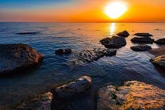 Sunrise on sea. Colorful sunrise on sea Stock Photo