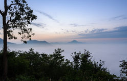 Sunrise with sea of fog over Mountain Royalty Free Stock Image