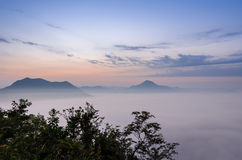 Sunrise with sea of fog over mountain Royalty Free Stock Photography