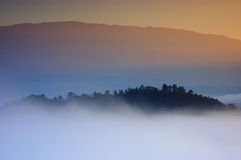 Sunrise at sea fog on the peaks. Stock Photos