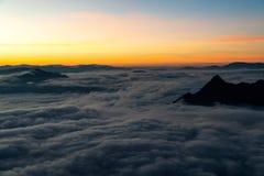 Sunrise and sea of fog royalty free stock image