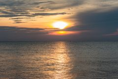 Sunrise from the sea. Good morning Sunrise Landscape from Songkhla Sea, Thailand stock photos