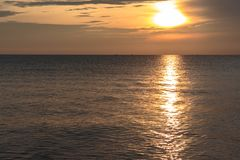 Sunrise from the sea. Good morning Sunrise Landscape from Songkhla Sea, Thailand stock photography