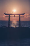 Sunrise and sea at Japanese shinto gate. In Oarai city , Ibaraki prefecture royalty free stock images