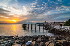 sunrise sea at Khao Laem Ya National Park, Rayong Stock Image