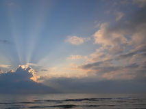 Sunrise at the sea. Look as new hope Royalty Free Stock Photography