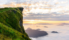 Sunrise and sea of mist at  phucheefa forest park Royalty Free Stock Image