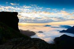 Sunrise and sea of mist at  phucheefa forest park Stock Photos