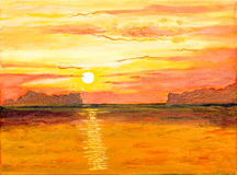 Sunrise on the sea of oil painting Stock Photo
