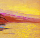 Sunrise on the sea, painting, picture Royalty Free Stock Photography