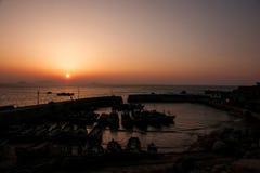 Sunrise on the sea. Qingdao laoshan sunrise at sea in China Stock Image