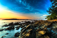 Sunrise. In the sea at Rayong in Thailand Stock Photography