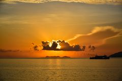 Sunrise by the sea at Samui island in Thailand Royalty Free Stock Photo