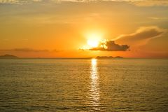 Sunrise by the sea at Samui island in Thailand Stock Photos