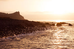 The Sunrise on sea shore in Madeira Royalty Free Stock Photos