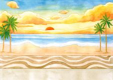 Sunrise at Sea Side Watercolor Illustration. For any purpose such as cover book, illustration, wallpaper, home decor, print on poster, calendar, stationary etc royalty free illustration