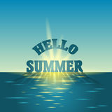 Sunrise in the sea. Summer holidays vector background.  blue sky and sea. Stock Images