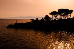 Sunrise in the sea at Veli Losinj. Croatia Stock Image