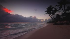 Sunrise sea view and tropical island beach in Punta Cana, Dominican Republic.  stock video