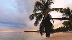 Sunrise sea view and tropical island beach in Punta Cana, Dominican Republic stock footage