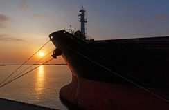 Sunrise in seaport of Odesa Royalty Free Stock Photography