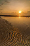 Sunrise Seascape with Beautiful Sand Beach Pattern Royalty Free Stock Photography