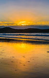 Sunrise Seascape and Crepuscular Rays. Taken at Umina Beach, Central Coast, NSW, Australia Stock Photography