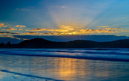 Sunrise Seascape and Crepuscular Rays. Taken at Umina Beach, Central Coast, NSW, Australia Royalty Free Stock Images
