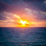 Sunrise Seascape Halo. Halo effect surrounding the morning sunrise over the ocean seascape in Hawaii Stock Photography