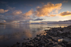 Sunrise seascape in Iceland on the Snaefellsnes Peninsula with snowy mountains Royalty Free Stock Photography