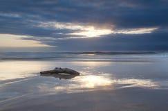 Sunrise seascape with log on beach Royalty Free Stock Photos