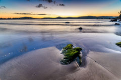 Sunrise Seascape with Mossy Green Rock. Taken at Umina Point, Umina, NSW, Australia Royalty Free Stock Photo