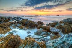 Sunrise Seascape Sachuest Wildlife Refuge. Colorful orange, pink and blue HDR sunrise seascape of rocky coastline at Sachuest Point Wildlife Refuge in Middletown Royalty Free Stock Images