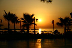 Sunrise at the seaside. Turkey resort early in the morning Stock Photography