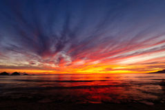 Sunrise at the seaside. Colorful display of light. Stock Photography