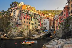 Riomaggiore at Sunrise Stock Photography