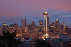 Sunrise on Seattle Skyline Royalty Free Stock Photography