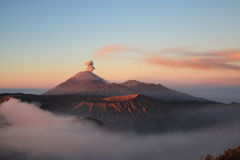 Sunrise at Semeru volcano on Java, Indonesia Royalty Free Stock Photos