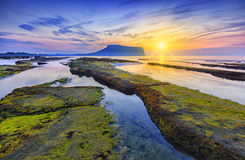 Sunrise at Seongsan Ilchulbong, Jeju island, South Korea. Royalty Free Stock Image