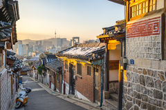 Sunrise with Seoul city skyline in Seoul, South Korea Stock Image