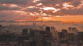 Sunrise of Seoul Downtown cityscape
