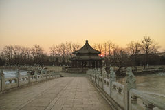 Sunrise at the Seventeen Hole Bridge in Summer Palace Stock Images