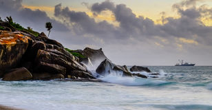 Sunrise at Seychelles stock photos