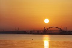 Sunrise at Shaikh Khalifa bridge Bahrain Stock Image