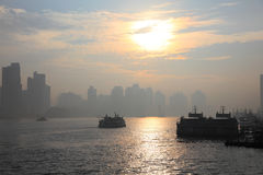 Sunrise in Shanghai, China Stock Images