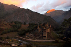 The sunrise in Shatili village, Georgia Stock Photography