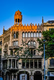 Sunrise Shine on Old building in Barcelona Stock Photos