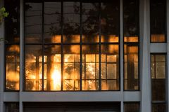 Sunrise shines through window in morning. Sunrise shines through windows of building in the morning with natural tree background stock photo