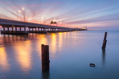 Sunrise by the shore of Penang Bridge, George Town, Penang. Amazing Sunrise and Sunset in Penang Bridge George Town, Penang Malaysia Royalty Free Stock Photography